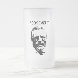 Roosevelt -- Black and White Frosted Glass Beer Mug