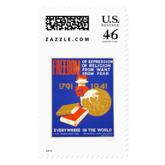Roosevelt Freedom For All 1941 WPA Postage Stamps