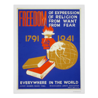 Roosevelt Freedom For All 1941 WPA Poster