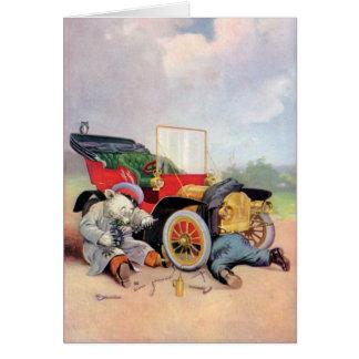Roosevelt lleva a mecánicos de coche tarjeta de felicitación