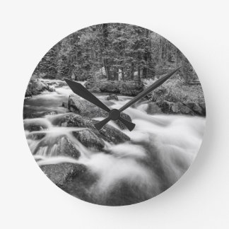 Roosevelt National Forest Stream Black and White Round Clock