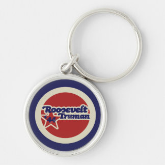Roosevelt Truman 44 Silver-Colored Round Keychain
