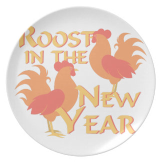 Roost In New Year Plate