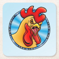Rooster 01. square paper coaster
