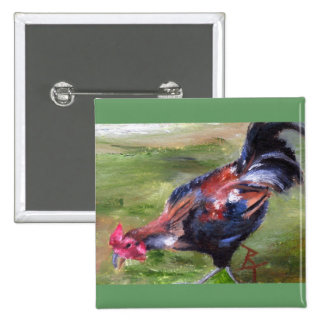 Rooster aceo Button