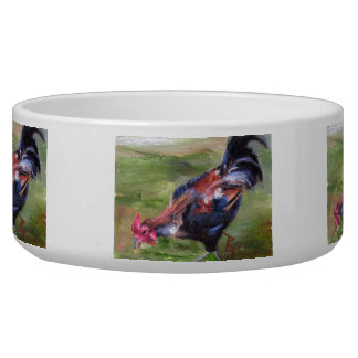 Rooster aceo dog water bowls