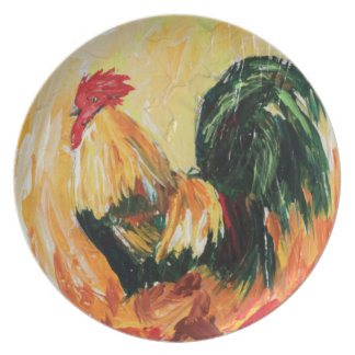 Rooster Alexis. Personal designs of roosters Dinner Plate