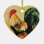 Rooster Alexis. Personal designs of roosters Double-Sided Heart Ceramic Christmas Ornament