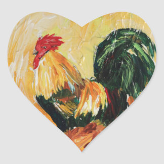 Rooster Alexis. Personal designs of roosters Heart Sticker