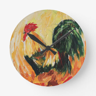 Rooster Alexis. Personal designs of roosters Round Clock