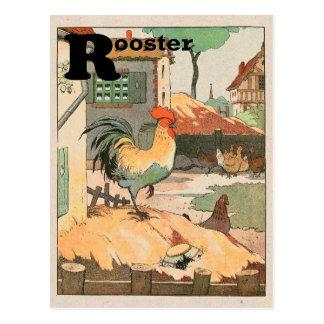Rooster Alphabet Postcard