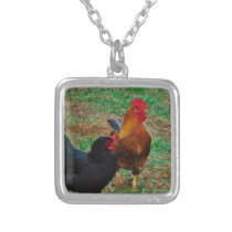 Rooster and Black Hen Silver Plated Necklace