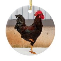 Rooster and Chick round ceramic Christmas ornament