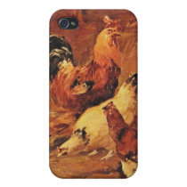 Rooster and chickens iPhone 4 cases