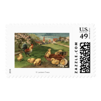Rooster and Chicks Postage