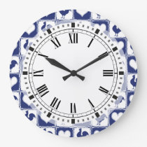 Rooster and Hearts Blue and White Farm Country Large Clock
