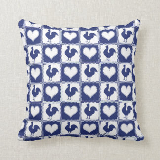 Rooster and Hearts Blue and White Farm Country Pillow