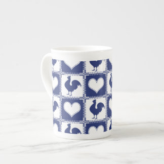 Rooster and Hearts Blue and White Farm Country Tea Cup
