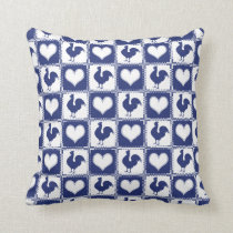 Rooster and Hearts Blue and White Farm Country Throw Pillow
