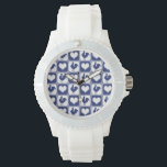 "Rooster and Hearts Blue and White Farm Country Wrist Watch<br><div class=""desc"">Elegant blue and white pattern featuring roosters and hearts in a traditional American gingham style pattern.</div>"