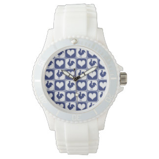 Rooster and Hearts Blue and White Farm Country Wrist Watch