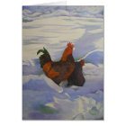 Rooster and Hen in the Snow Card