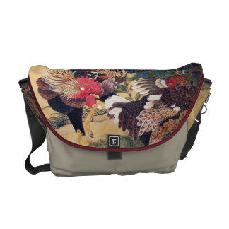 Rooster and Hen Messenger Bags