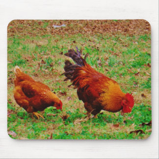 Rooster and Hen Mouse Pad