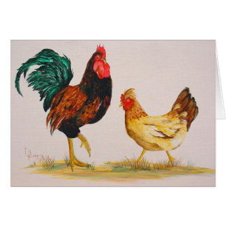 Rooster and Hen Note Card