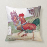 Rooster and Hen on Way to Hendale Throw Pillow