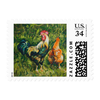 Rooster and Hen Postage