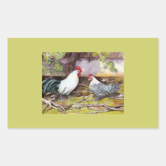 Rooster and Hen Rectangular Sticker
