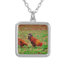 Rooster and Hen Silver Plated Necklace