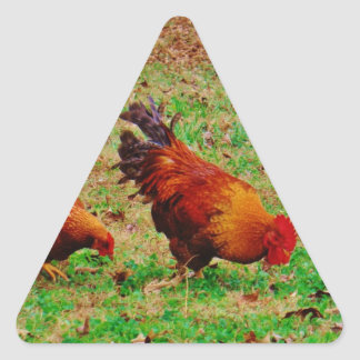 Rooster and Hen Triangle Sticker