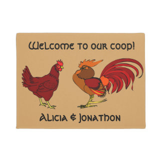 """Rooster and hen """"Welcome to our coop"""" Doormat"""