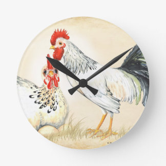 rooster and hen with eggs family sepia handpainted round clock