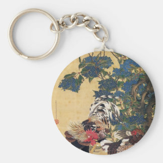 Rooster and Hen with Hydrangeas by Ito Jakuchu Keychain