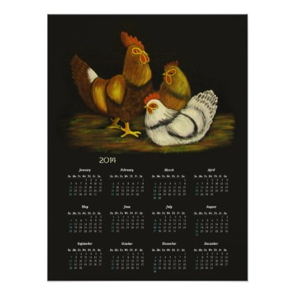 Rooster and Hens calendar ~ print