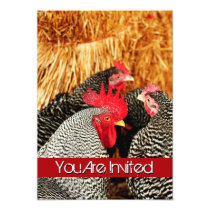 Rooster and Hens Country Wedding Invitations