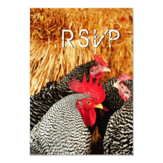 Rooster and Hens Country Wedding RSVP Cards