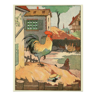Rooster and Hens in the Farm Yard Poster