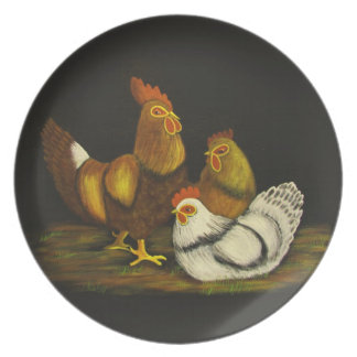 Rooster and Hens ~ Plate