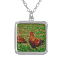 Rooster  and his chick silver plated necklace