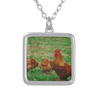 Rooster  and his Chickens Necklace
