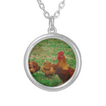 Rooster  and his Chickens Silver Plated Necklace