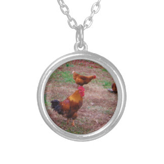 Rooster and his hens custom necklace