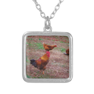 Rooster and his hens necklaces