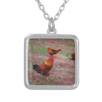Rooster and his hens silver plated necklace