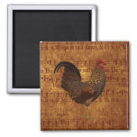 Rooster and Music 2 Inch Square Magnet