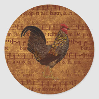 Rooster and Music Classic Round Sticker